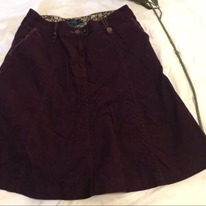 Boden Maroon corduroy skirt